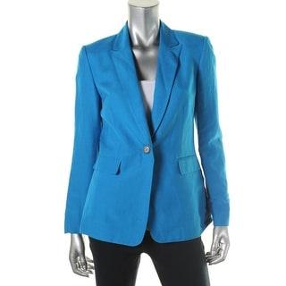 Tahari ASL Womens Jay Linen Peak Collar One-Button Blazer