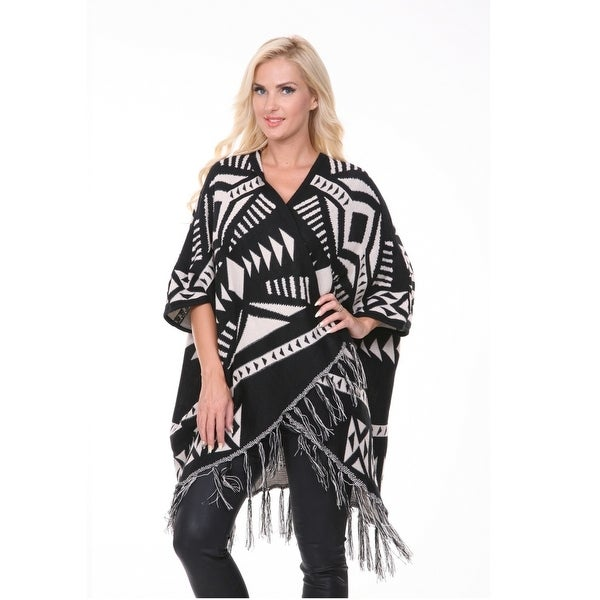 Cherokee Patterned Cardigan Poncho - Black & White