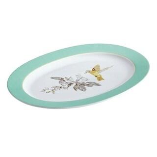BonJour Dinnerware Fruitful Nectar Porcelain 10-Inch by 14-Inch Oval Platter - Print