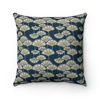 Japanese Floral Reversible Throw Pillow Cover, Navy Blue & Beige