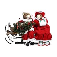 "34"" Battery Operated Lighted Musical Bear Couple with Sleigh Christmas Decoration"