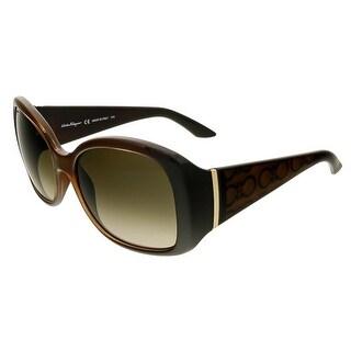 Salvatore Ferragamo SF722S 210 Brown Square Sunglasses - 58-17-130