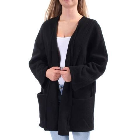 ALFANI Womens Black Pocketed 3/4 Sleeve Open Sweater Size: XS