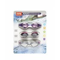 TYR USA Swimming Adult Goggle 3-Pack Set Adjustable Anti-Fog Latex Free