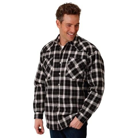 Roper Western Jacket Mens Flannel Snap Plaid Black