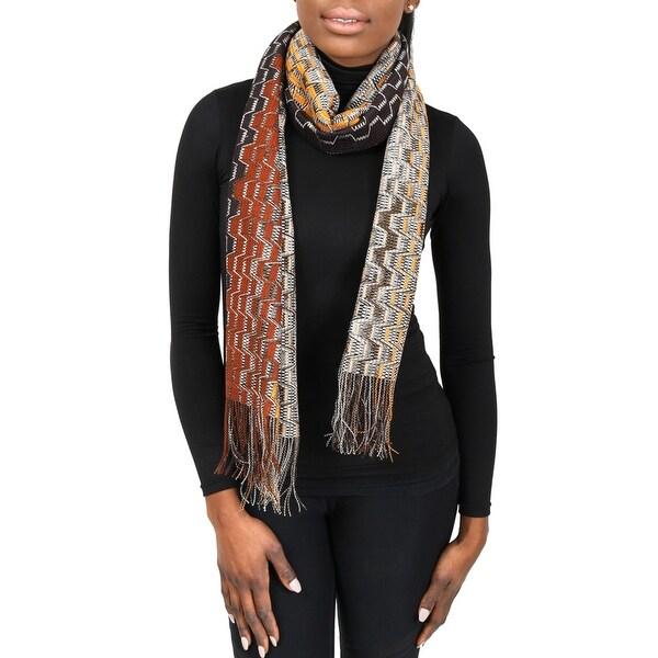 Missoni SC31PSD5929 0004 Brown/Orange Wool Blend Womens Scarf - 17.5 - 71.5