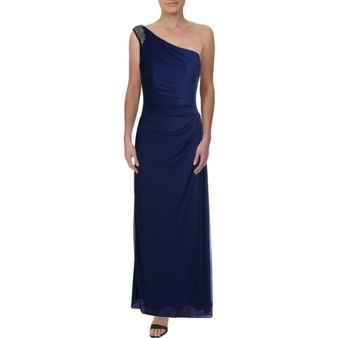 Alex Evenings Womens Evening Dress Embellished One Shoulder - Electric Blue