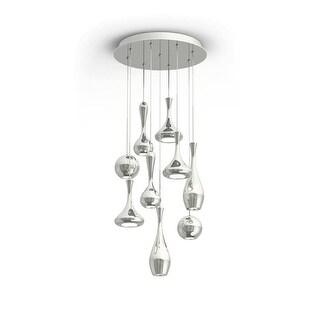 "Modern Forms PD-ACID09R Acid 17"" Wide 9 Light LED Multi Light Pendant with Spun Metal Shades - Grey"