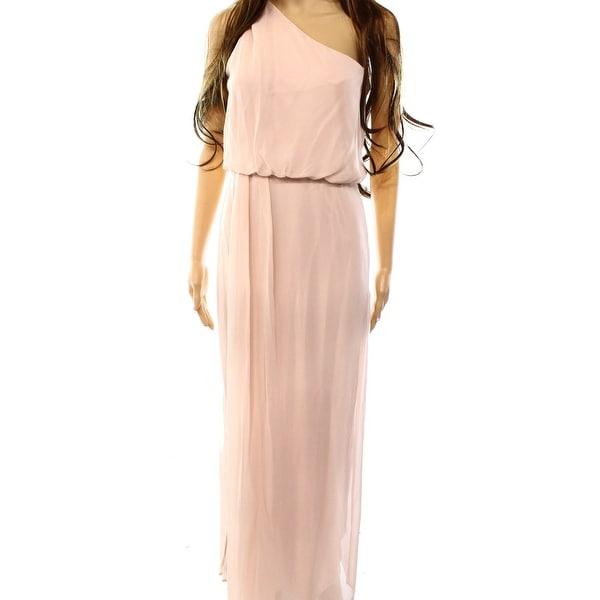9fe422587a Adrianna Papell NEW Pink Blush Women 4 One Shoulder Blouson Maxi Dress