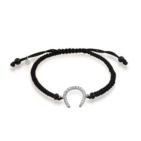 Good Luck Horseshoe Equestrian Black Cord Bracelet CZ Sterling Silver