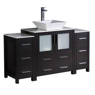 "Fresca FCB62-123012-V  Torino 54"" Free Standing Vanity Set with Plywood Cabinet, Ceramic Vanity Top, and Single Vessel Sink"