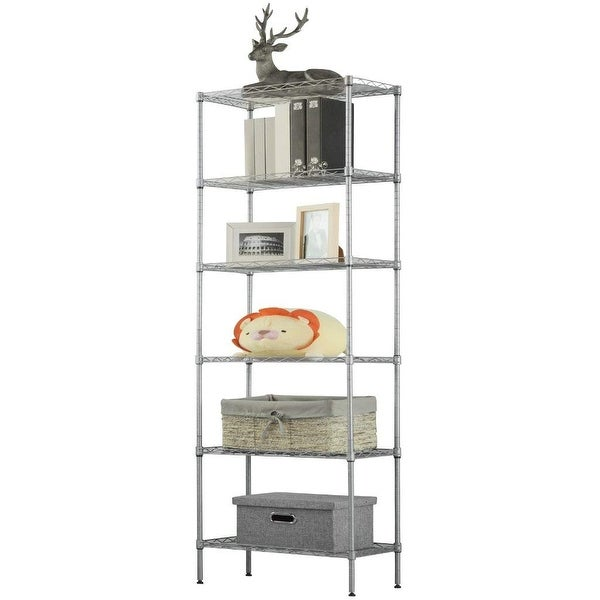 LANGRIA 6 Tier Wire Shelving Heavy Duty Storage Rack with 5 Hooks,Silver - Silver