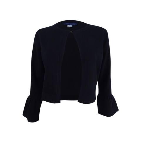 Tommy Hilfiger Women's Bell-Sleeve Crop Cardigan (S, Black) - Black - S