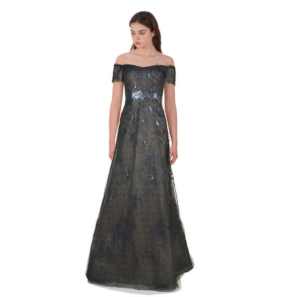 Rene Ruiz Sequin Embellished Tulle Off Shoulder Evening Ball Gown Dress