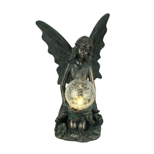 Verdigris Bronze Finish Fairy Holding LED Crackled Glass Ball Solar Statue - 14.5 X 9.75 X 9.25 inches