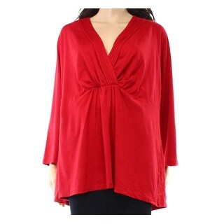 Charter Club NEW Red Womens Size 3X Plus Pleated V-Neck Gathered Blouse