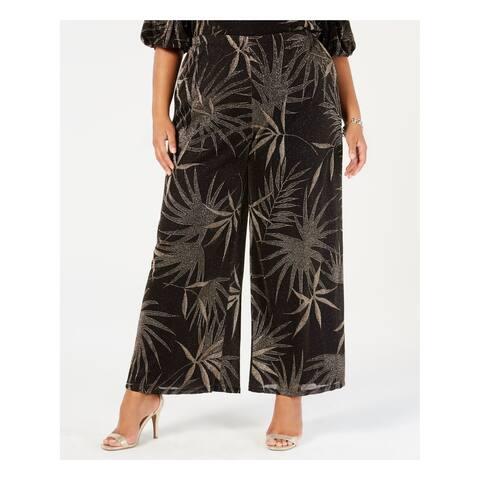 MSK Womens Gold Metallic Print Wide Leg Pants Plus Size: 3X