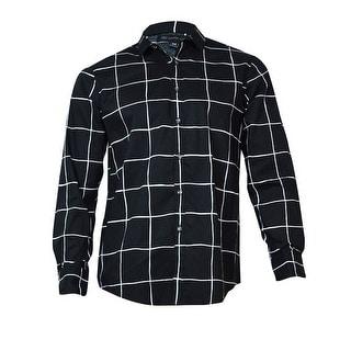 INC International Concepts Men's Danton Windowpane Shirt (Charcoal, L) - L