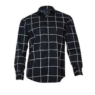 INC International Concepts Men's Danton Windowpane Shirt (Charcoal, M) - M