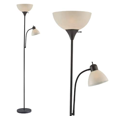 """Decor Works Adjustable Floor Lamp with Reading Light 72"""" Tall"""