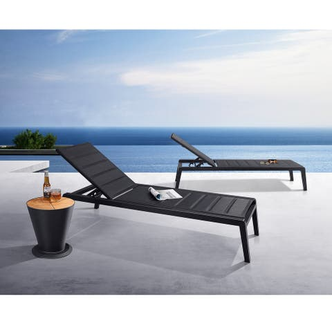 HIGOLD 6977 Emoti Outdoor Chaise Lounger with Sturdy Space Aluminum Textilene Set of 2 Matte Charcoal Powder Coating