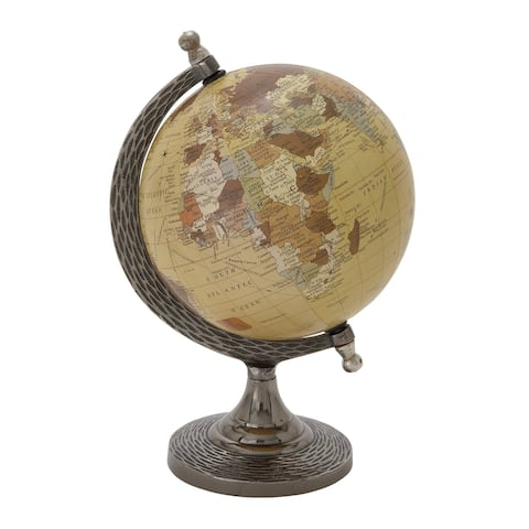 Metal Frame Globe Sculpture with Round Stable Base, Silver and Brown