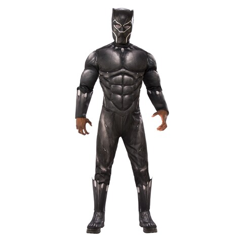Mens Deluxe Muscle Chest Black Panther Movie Costume