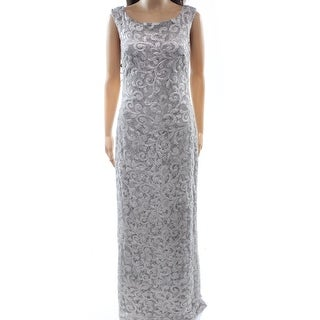 Lauren Ralph Lauren NEW Silver Womens Size 6 Sequin V-Back Maxi Dress