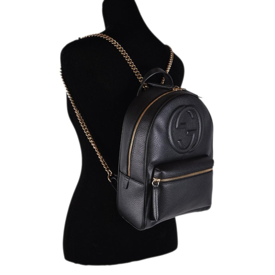 Gucci Women\u0027s 536192 Black Leather SOHO Chain Strap Small Backpack Purse Bag