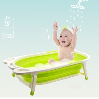 Gymax Green Baby Folding Bathtub Infant Collapsible Portable Shower Basin w/ Block