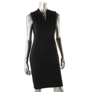 T Tahari Womens Tonya Pleated V-Neck Wear to Work Dress