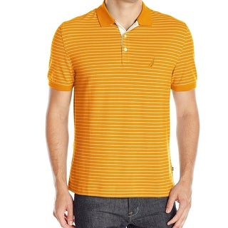 Nautica NEW Orange Mens Size Large L Classic-Fit Striped Polo Shirt