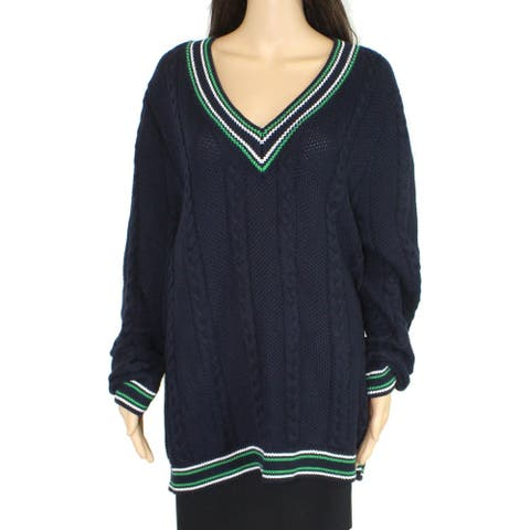 Lauren by Ralph Lauren Women's Sweater Blue Size 1X Plus V-Neck