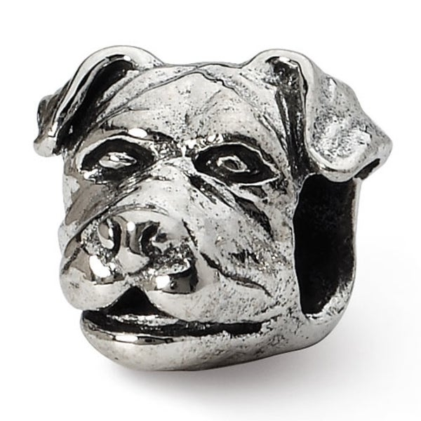 Sterling Silver Reflections Rottweiler Head Bead (4mm Diameter Hole)