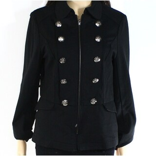 INC NEW Deep Black Women's Size Small S Full-Zip Military Jacket