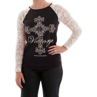 Cowgirl Tuff Western Shirt Womens L/S Tee Lace Cross Black H00452