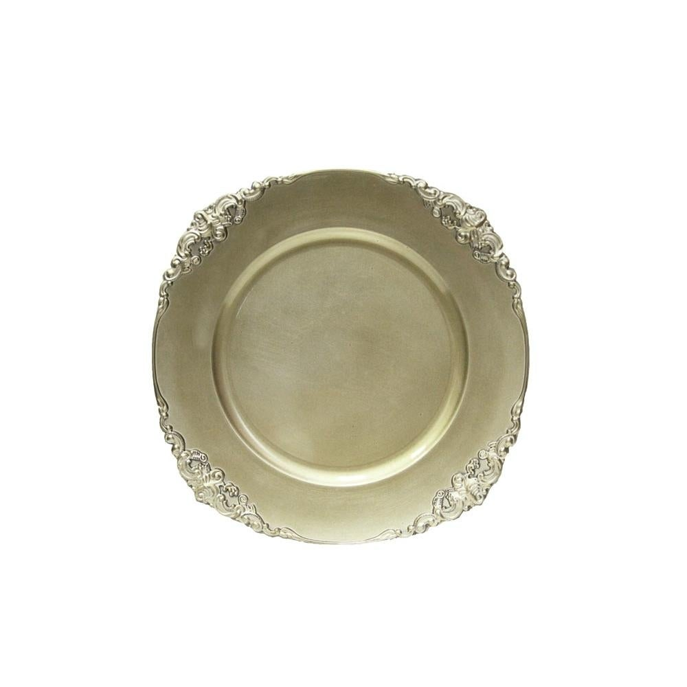 1 Piece Vintage Round Charger Plate Champagne Overstock 31681645