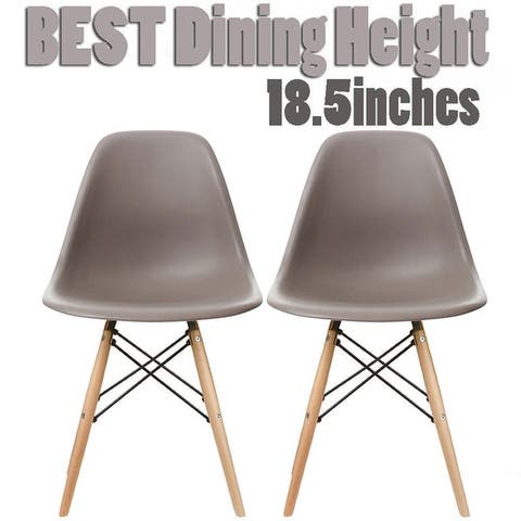 2xhome Set of 2 Modern Plastic Eiffel Side Dining Chair Colors with Natural Wood Dowel Leg For Kitchen Work Bedroom DSW