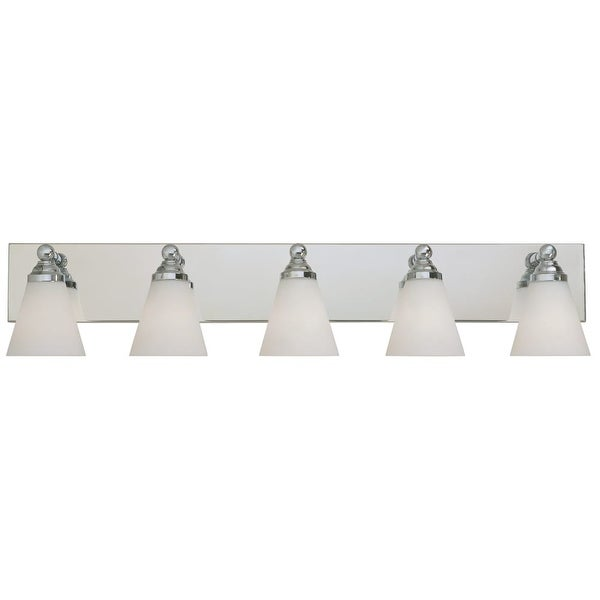 Designers Fountain 6495 Contemporary Five Light 500W Bathroom Wall Fixture from the Hudson Collection - Chrome
