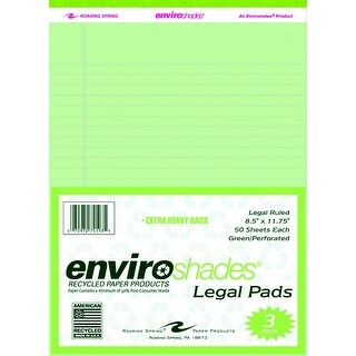 Enviroshades Legal Pad, 8-1/2 x 11-3/4 Inches, Green, 50 Sheets, Pack of 3