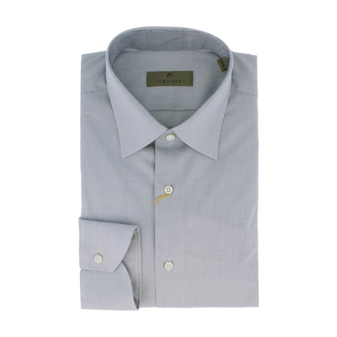Canali Blue Weave Formal Shirts