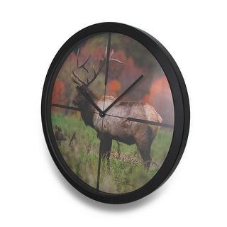 Autumn Elk In Scope Cross Hairs HD Elk Image Atomic Wall Clock 13 in. - 13.5 X 13.5 X 1.5 inches