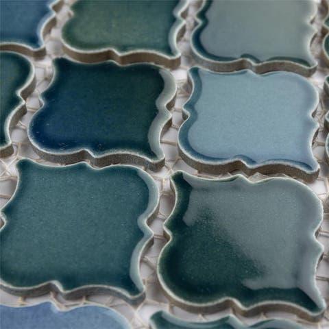SomerTile Hudson Tangier Lagoon 12.38x12.5-inch Porcelain Mosaic Tile - CASE