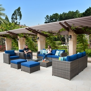 Link to Ovios Patio Furniture Deep Seat Wicker Pillows & Sofa Cover Included Outdoor Furniture 12-Piece Set Similar Items in Patio Sets