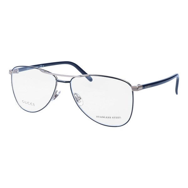 954ec41545b7d Shop Gucci Womens Eyeglasses 4218 L1B 14 Metal Aviator Blue Light Gold  Frames 55mm - Free Shipping Today - Overstock - 13372380