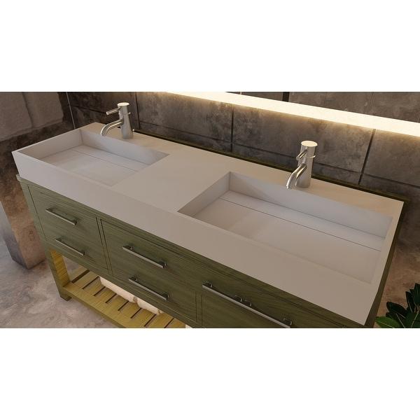 """Juniper 60"""" Solid Surface Bathroom Vanity Top. Opens flyout."""