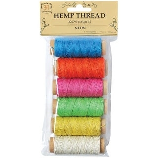 Hemp Thread Spools 2-Ply 59' 6/Pkg-Neon