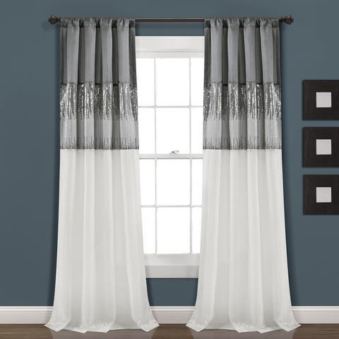 Silver Orchid Page Two-tone Faux Silk 84-inch Night Sky Curtain Panel