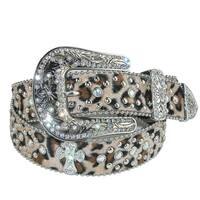 CTM® Women's Leopard Print Belt with Cross Conchos - Small / Medium