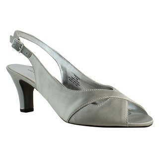 David Tate Womens Silver Ankle Strap Heels Size 9